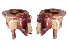 (TD-3) 2 pcs Elephant Stool set (round)