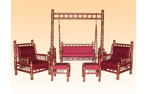 6 pcs Sankheda Swing & Chair Set
