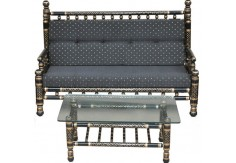 2 pcs Sankheda Sofa & Table Set