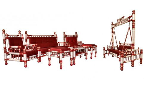 7 pcs Sankheda Swing & Sofa Set