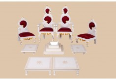 WD-1 9pcs Wedding Chairs and Pooja Set (White Gold)