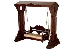 (WC-5) Wooden Carved Swing MAHARAJA (dark brown)