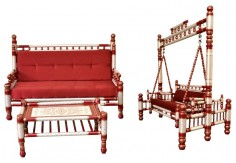 3 pcs Sankheda Swing & Sofa Set