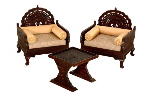 (RC-1) 3 pcs Maharaja Chair & End Table set, fine carved