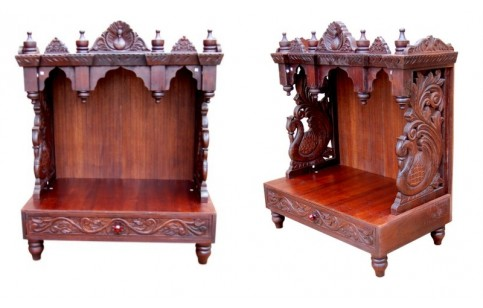 (TP-1) Wooden Carved Temple, Peacock design (dark brown)