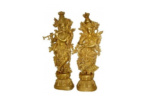 (TS-1) Brass Statue of Lord Krishna 30""