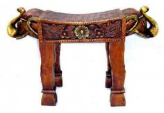 (TD-5) 2 pcs Decorative Stool set (elephant carved, copper finished)
