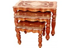 (TD-24) 3 pcs Table set, Rectangle (carved & brass embossed)