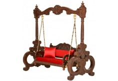 (WC-4) Wooden Carved Swing KALAKRUTI (dark brown)
