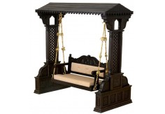 (WC-6) Wooden Carved Swing RAJASI (dark brown)