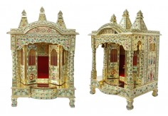(TM-1) Wooden Temple with Brass Minakari work
