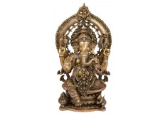 (TSG-1) Brass Statue of Ganesha 15""