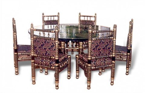 (SDN-6D) 6 Chairs Sankheda Dining Set (Round)