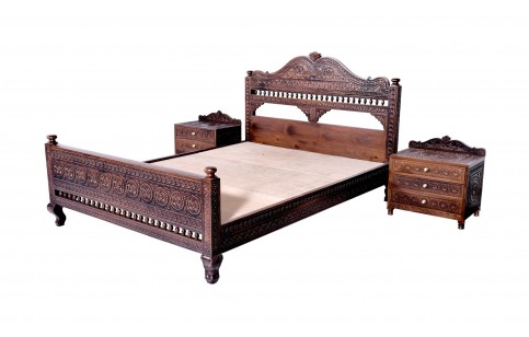 (RC) Royal Bed Set, Fine Carved