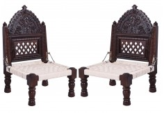 (RA-2) 2 pcs Pidha Chair set (dark brown)