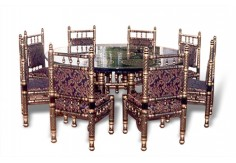 (SDN-D8) 8 Chairs Sankheda Dining Set (Round)