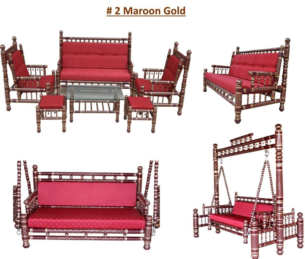 # 2 Maroon Gold with maroon red cushions