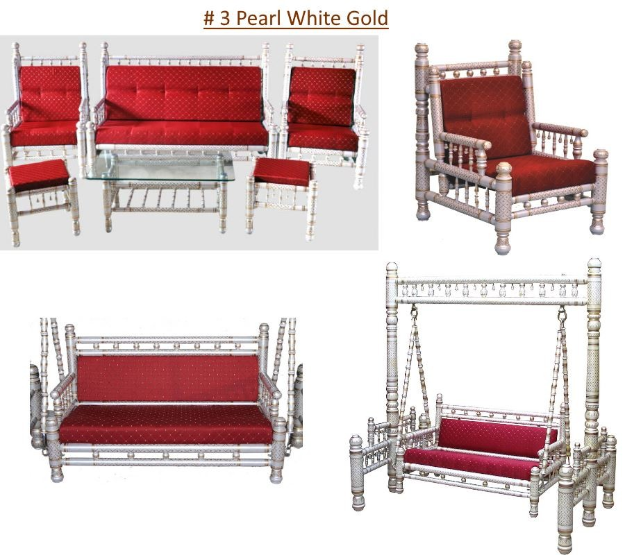 # 3 Pearl White Gold with red cushions