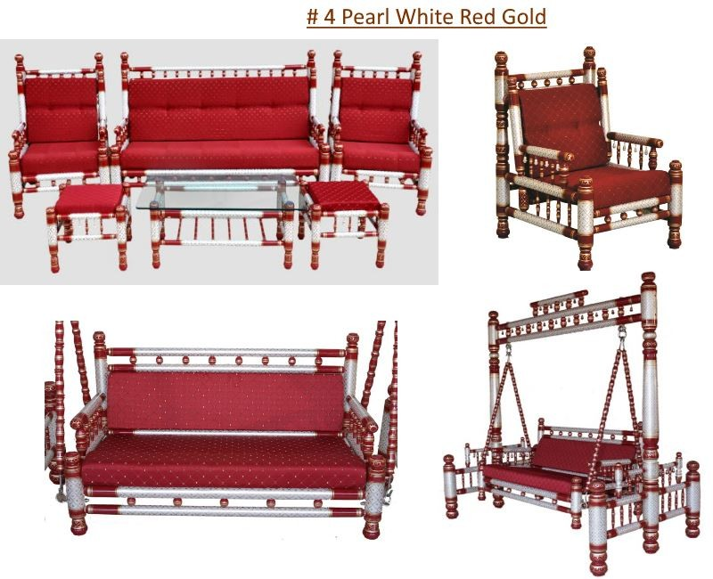 # 4 Pearl White Red Gold with red cushions