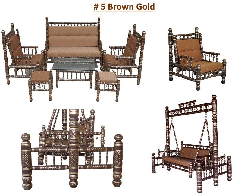 # 5 Brown Gold with golden brown cushions