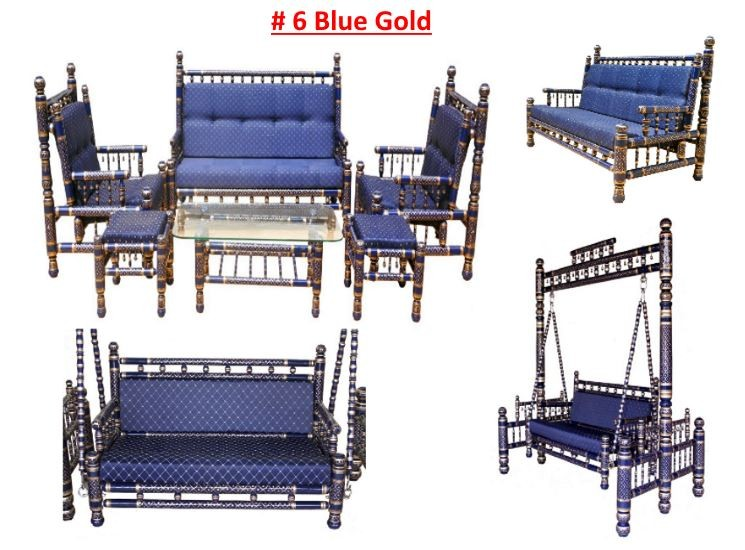 # 6 Blue Gold with blue cushions