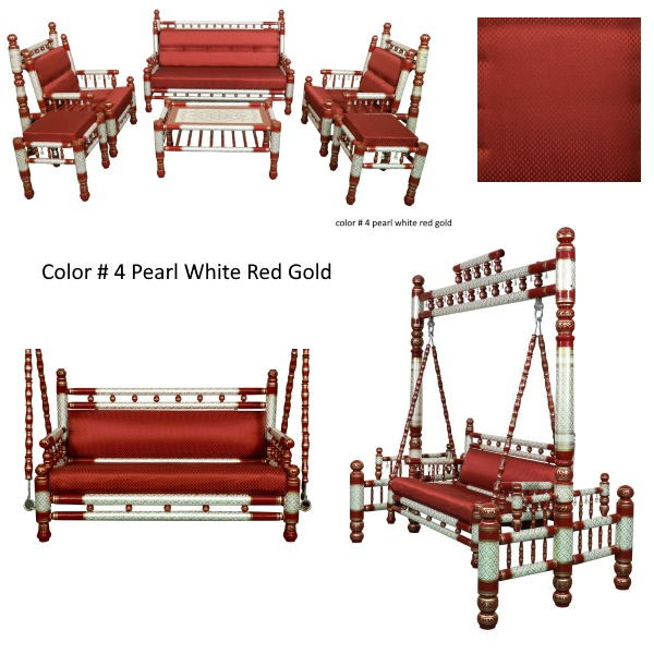 Color # 4 Pearl White Red Gold with red cushion